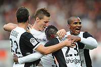Players of FC METZ celebrate the Gaetan BUSSMANN's Goal during the French Championship L1 football match EA Guingamp vs FC Metz on September 24, 2014 at Roudourou stadium in Guingamp . Photo Pascal Allée / Hot sports / DPPI