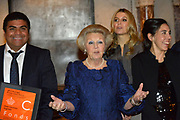 Koninklijke familie bij uitreiking Prins Claus Prijs in het Paleis op de Dam, Amsterdam. ///// Royal family attending the Prince Claus Award ceremony in the Royal Palace, Amsterdam.<br /> <br /> Op de foto / On the Photo:   Koningin Beatrix