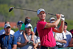 June 11, 2019 - Pebble Beach, CA, U.S. - PEBBLE BEACH, CA - JUNE 11: PGA golfer Martin Kaymer tees off on the 10th hole during a practice round for the 2019 US Open on June 11, 2019, at Pebble Beach Golf Links in Pebble Beach, CA. (Photo by Brian Spurlock/Icon Sportswire) (Credit Image: © Brian Spurlock/Icon SMI via ZUMA Press)