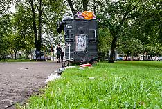 Rubbish piling up during Festival season, Edinburgh, 16 August 2018
