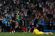 Croatia players celebrate after winning the 2018 FIFA World Cup Russia, semi-final football match between Croatia and England on July 11, 2018 at Luzhniki Stadium in Moscow, Russia - Photo Thiago Bernardes / FramePhoto / ProSportsImages / DPPI