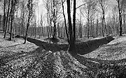 Verdun WW1 Battlefield site, Verdun-sur-Meuse, France. March 2014<br /> Fort de Souville and supporting trench system on the Verdun Battlefield. On 11 July 1916 The Bavarian guards launch an assault on the village of Fleury and tried to break into Fort Souville. This is one of the first strong Sere de Rivieres, masonry construction (rubble limestone) covered with piles of dirt. Dating from 1875-1879, the fort was changed to 1888-1890 by digging underground shelters and protection under the concrete powder magazine.<br /> <br /> A turret for two 155 mm guns (Bussière model) was installed in 1890-1891 to 120 meters west of the fort. <br /> <br /> Sector Fleury held by the 128th French Division of General Riberpray. 255 Brigade Colonel Coquelin de Lisle ( 167th and 168th Infantry Regiments ) is at the forefront, the 168th occupied the forward positions, the 167th is deployed behind him, until July 6 , when the two regiments invert their positions.<br /> <br /> On July 9 , the positions of the 167th Infantry Regiment were shelled by artillery shells German with explosives and gas shells. <br /> The Battle of Verdun lasted 9 months, 3 weeks and 6 days between 21 February and 20 december 1916. It was the longest and one of the most costly battles in human history;  recent estimates increase the number of casualties to 976,000.<br /> <br /> Caption information below from wikipedia:<br /> The Battle of Verdun (Bataille de Verdun0, was fought from 21 February – 18 December 1916 during the First World War on the Western Front between the German and French armies, on hills north of Verdun-sur-Meuse in north-eastern France. The German Fifth Army attacked the defences of the Région Fortifiée de Verdun (RFV) and the Second Army on the right bank of the Meuse, intending rapidly to capture the Côtes de Meuse (Meuse Heights) from which Verdun could be overlooked and bombarded with observed artillery-fire. The German strategy intended to provoke the French into counter-attacks and co