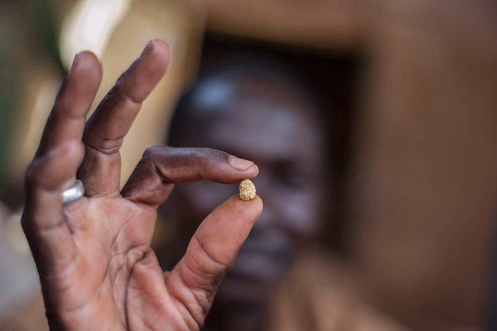 Nobsin, Burkina Faso - 13 May 2014: gold buyer Paul Ouedrougou, 45, shows some of the gold extracted in the gold washing site.