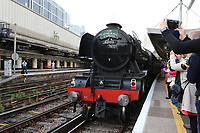 The Flying Scotsman British Railways Class A3 60103 Steam Locomotive, London Victoria Railway Station, London, UK, 05 June 2018, Photo by Richard Goldschmidt, The Flying Scotsman British Railways Class A3 60103 is a Pacific steam locomotive built in 1923 for the London and North Eastern Railway (LNER) at Doncaster Works to a design of Nigel Gresley. This locomotive holds a world record for steam traction, becoming the first steam locomotive to be officially authenticated at reaching 100 miles per hour (160.9 km/h) on 30 November 1934. Retired from regular service in 1963.