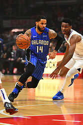 January 6, 2019 - Los Angeles, CA, U.S. - LOS ANGELES, CA - JANUARY 06: Orlando Magic Guard D.J. Augustin (14) drives to the basket during a NBA game between the Orlando Magic and the Los Angeles Clippers on January 6, 2019 at STAPLES Center in Los Angeles, CA. (Photo by Brian Rothmuller/Icon Sportswire) (Credit Image: © Brian Rothmuller/Icon SMI via ZUMA Press)