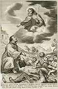 The supposed appearance of the Old Testment prophet Eliajah during the outbreak of Bubonic Plaque in Italy in 1655. Engraving.