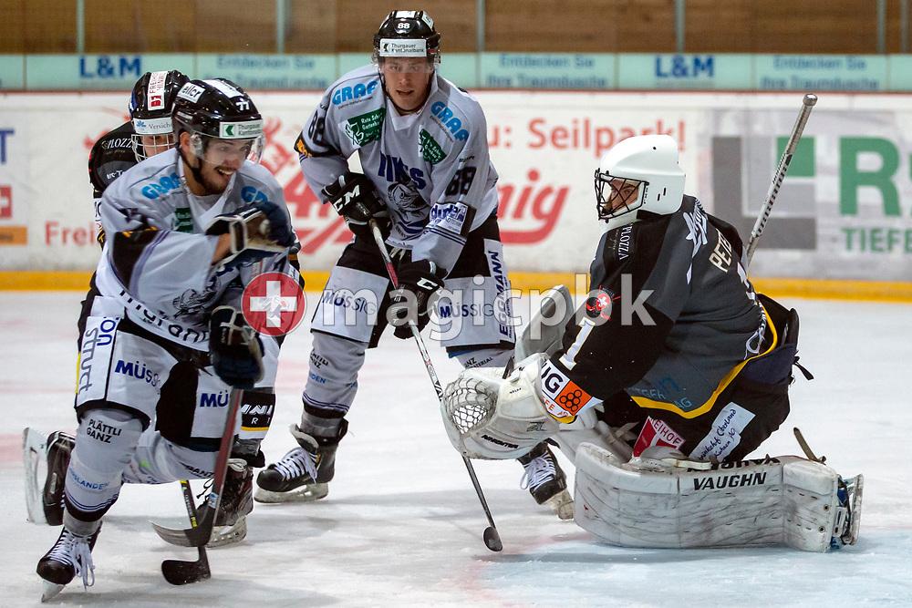 EHC Wetzikon goaltender Yannik Peter is pictured during a Swiss 1st League ice hockey game (Season 2018/2019) between EHC Wetzikon and PIKES EHC Oberthurgau in Wetzikon, Switzerland, Saturday, Oct. 6, 2018. (Photo by Patrick B. Kraemer / MAGICPBK)
