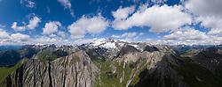 THEMENBILD - Panoramaansicht Kalser Ködnitztal mit Grossglockner (Glockner), höchster Berg Österreichs (3798m) und umliegende Gipfel der Glocknergruppe, Sommer, am Sonntag 04. August 2019, Kals am Großglockner, Nationalpark Hohe Tauern, Österreich // Panorama view Kalser Kodnitztal valley with Grossglockner (Glockner), highest mountain of Austria with 3.798 meter sea level and surrounding peaks of the Glockner group, summer, on Sunday 04. August 2019, Kals am Grosglockner, Hohe Tauern National Park. EXPA Pictures © 2019, PhotoCredit: EXPA/ Johann Groder<br /> <br /> *****ATTENTION - dieses Bilddatei ist in einer maximalen Grösse von 17052 x 6751 pixel (ca. 425 MB) verfügbar! // This image file is available in a maximum size of 17052 x 6751 pixels (about 425 MB)! *****