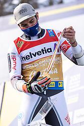 19.02.2021, Cortina, ITA, FIS Weltmeisterschaften Ski Alpin, Riesenslalom, Herren, Siegerehrung, im Bild 19.02.2021, Cortina, ITA, FIS Weltmeisterschaften Ski Alpin, Riesenslalom, Herren, Siegerehrung, im Bild // Gold medal winner and world champion in men's giant slalom 2021 Mathieu Faivre of France during the winner ceremony of men giant slalom of FIS Alpine Ski World Championships 2021 in Cortina, Italy on 2021/02/19. EXPA Pictures © 2021, PhotoCredit: #AGENTUR#/ Johann Groder // Gold medal winner and world champion in men's giant slalom 2021 Mathieu Faivre of France during the winner ceremony of men giant slalom of FIS Alpine Ski World Championships 2021 in Cortina, Italy on 2021/02/19. EXPA Pictures © 2021, PhotoCredit: EXPA/ Johann Groder<br /> <br /> *****ATTENTION - #RESTRICTION#*****
