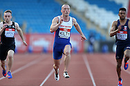 Richard Kilty running during the 100m heat race. The British Championships 2016, athletics event at the Alexander Stadium in Birmingham, Midlands  on Friday 24th June 2016.<br /> pic by John Patrick Fletcher, Andrew Orchard sports photography.