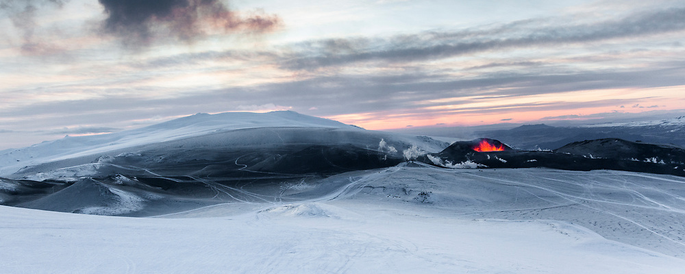 The crater Magni, formed in the Fimmvörðuháls eruption of March 2010. Eyjafjallajökull in the distance.