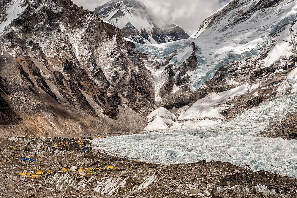 NEPAL, Everest Region, Everest Base Camp. May 12th, 2012. Khumbu Ice Falls & Everest Base Camp