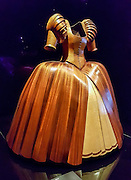 """Lady of the Wood"" (2009) costume by David Walker is made of mahogony, lacewood, maple and cedar. WOW, World of Wearable Art (TM) is New Zealand's largest arts show. This showcase of work emerges from WOW, a spectacular international design competition where art and fashion intersect. This July 8, 2016 photo is from an exhibition at the EMP Museum, now called MOPOP (Museum of Pop Culture), Seattle, Washington, USA. For licensing options, please inquire."