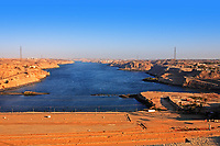 aswan dam on the river nile in egypt