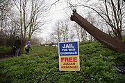 A banner in support of Julian Assange outside Woolwich Crown Court during his extradition hearing on 25th February 2020 in London, United Kingdom. Wikileaks founder Julian Assange is wanted in the United States to face charges of attempted hacking and breaches of the espionage act, related to the publication of classified US military documents. He faces a maximum of 175 years in prison.