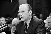 Gerald Rudolph Ford (1913-2006, born Leslie John Lynch) 38th President of the United States of America 1973-1974 appearing at  a House Judiciary Subcommitte hearing  about his  pardoning of Nixon.