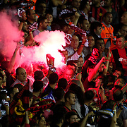 Eskisehirspor's supporters during their UEFA Europa League third Qualifying round first leg soccer match Eskisehirspor between Olympique Marseille at Ataturk stadium in Istanbul Turkey on Thursday 02 August 2012. Photo by TURKPIX