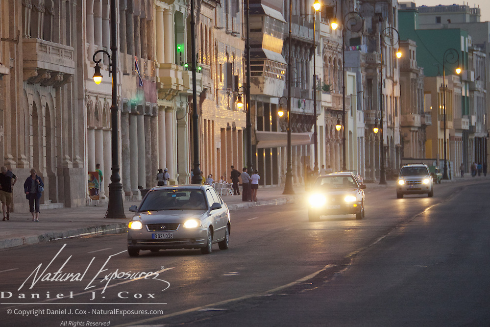 The busy avenue that runs alongside Havana's Malecon. Cuba