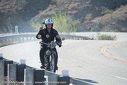 Stu Surr of the UK riding his single-cylinder class-2 1916 Triumph up the steep mountain pass just out of Palm Desert on the Palms to Pines Scenic Byway on the last day of the Motorcycle Cannonball Race of the Century. Stage-15 ride from Palm Desert, CA to Carlsbad, CA. USA. Sunday September 25, 2016. Photography ©2016 Michael Lichter.