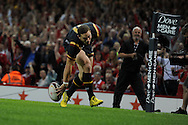 George North of Wales scores his teams 1st try. Wales v Italy, RWC warm up international match at the Millennium Stadium in Cardiff ,South Wales on Saturday 5th Sept  2015. pic by Andrew Orchard, Andrew Orchard sports photography.