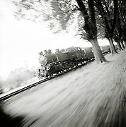 A steam train travelling through the countryside near Bad Doberan, northern Germany