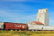 Grain elevator and train<br /> Wilcox<br /> Saskatchewan<br /> Canada