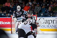 KELOWNA, CANADA - OCTOBER 23: Gordie Ballhorn #4 of Kelowna Rockets drops the gloves in the first period against Kody McDonald #26 of Prince George Cougars on October 23, 2015 at Prospera Place in Kelowna, British Columbia, Canada.  (Photo by Marissa Baecker/Shoot the Breeze)  *** Local Caption *** Gordie Ballhorn; Kody McDonald;