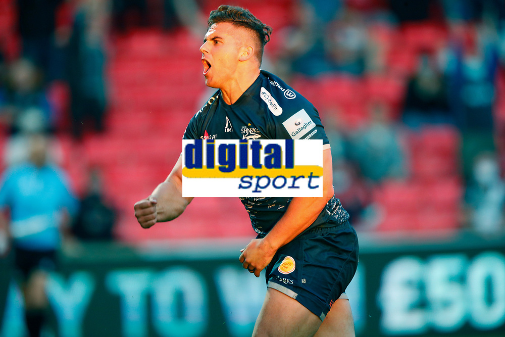 Rugby Union - 2020 / 2021 Gallagher Premiership - Round 21 - Sale Sharks vs Harlequins - A J Bell Stadium<br /> <br /> Rohan Janse van Rensburg of Sale Sharks scores a try at AJ Bell Stadium<br /> <br /> Credit COLORSPORT/LYNNE CAMERON