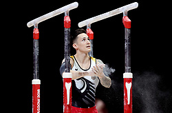 Germany's Marcel Nguyen before competing on the parallel bars in the Men's Gymnastics Team Final during day ten of the 2018 European Championships at the SSE Hydro, Glasgow.