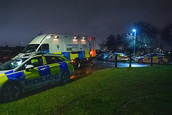 © Licensed to London News Pictures. 06/02/2021. Reading, UK. Police vehicles including a Thames Valley Police operational support van at the crime scene. At approximately 18:55GMT Thames Valley Police were called to reports of an altercation in Dulnan Close, Tilehurst in Reading. A 25-year-old man sustained multiple injuries and died at the scene. Photo credit: Peter Manning/LNP