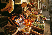 Vegetables and fruit for sale at a shop in the Golden Horn (or Haliç) area, Istanbul, Turkey. The Golden Horn is Istanbul's harbor and shipbuilding center.