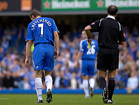 Photo: Daniel Hambury.<br />Chelsea v Portsmouth. The Barclays Premiership. 21/10/2006.<br />Chelsea's Andriy Shevchenko is booked for over celebrating his goal.