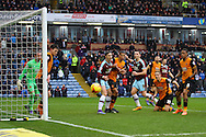 Sam Vokes of Burnley gets his head to the ball but sees his effort go wide. Skybet football league Championship match, Burnley v Hull city at Turf Moor in Burnley ,Lancs on Saturday 6th February 2016.<br /> pic by Chris Stading, Andrew Orchard sports photography.