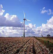 Single very large wind turbine at Blood Hill wind farm, Hemsby, north Norfolk, England