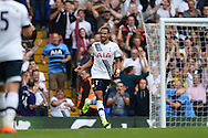 Nacer Chadli of Tottenham Hotspur celebrates after scoring his teams second goal of the match to make it 2-0. Barclays Premier league match, Tottenham Hotspur v Stoke city at White Hart Lane in London on Saturday 15th August 2015.<br /> pic by John Patrick Fletcher, Andrew Orchard sports photography.