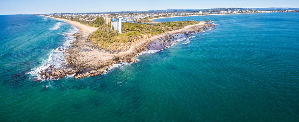 Panoramic aerial view of Pt Cartwright Reserve, Mooloolaba, Sunshine Coast, Queensland, Australia