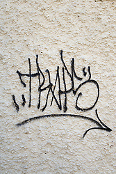 Graffiti on the side of a building,