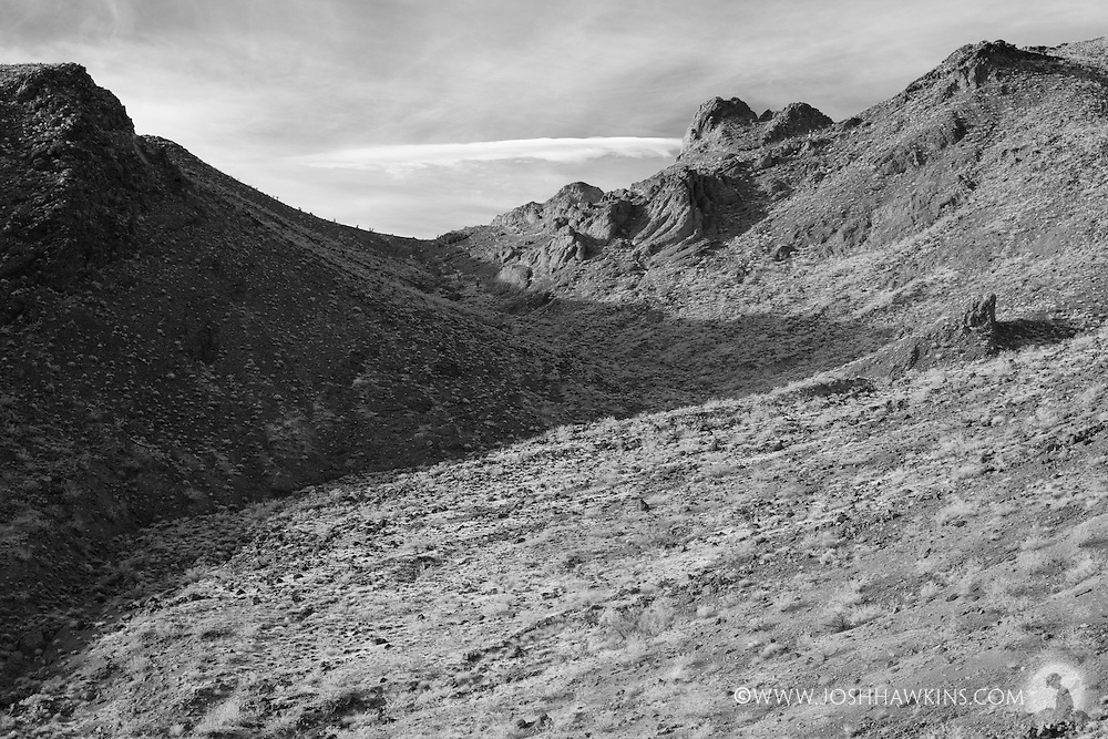 Sloan Canyon in the Sloan Canyon National Conservation Area which is part of the North McCullough Wilderness area outside Las Vegas, NV