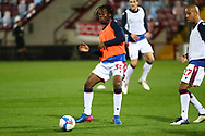 Bolton Wanderers Peter Kioso warms up prior to the EFL Sky Bet League 2 match between Scunthorpe United and Bolton Wanderers at the Sands Venue Stadium, Scunthorpe, England on 24 November 2020.