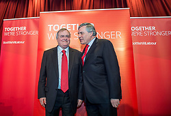 Former Prime Minister Gordon Brown and former Deputy Prime Minister Lord Prescott at a campaign event in Kirkcaldy.<br /> <br /> © Dave Johnston/ EEm