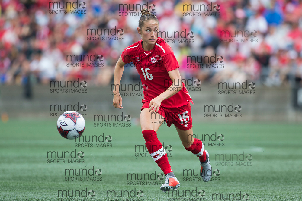 OTTAWA, ON - September 2: Janine Beckie (16 -- F) of Canada in an international FIFA women's friendly soccer match between Canada and Brazil at TD Place Stadium in Ottawa, Canada, September 2, 2018. Canada defeated Brazil 1-0. (Photo by Sean Burges/Mundo Sport Images)