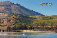 Fly fishing on the Middle Fork of the Flathead River in the Flathead National Forest, Montana USA MR