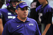 FORT WORTH, TX - SEPTEMBER 13:  TCU Horned Frogs head coach Gary Patterson looks on before kickoff against the Minnesota Golden Gophers on September 13, 2014 at Amon G. Carter Stadium in Fort Worth, Texas.  (Photo by Cooper Neill/Getty Images) *** Local Caption *** Gary Patterson