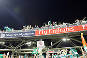 Pakistan's fans enjoying the teams performance during the International T20 match between England and Pakistan at the Emirates, Old Trafford, Manchester, United Kingdom on 7 September 2016. Photo by Craig Galloway.