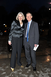 The Home Secretary THERESA MAY MP and her husband PHILIP MAY at the 50th birthday party for Jonathan Shalit held at the V&A Museum, London on 17th April 2012.