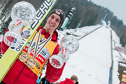 Gregor Schlierenzauer of Austria overall world cup winner of season 2012/13 at medal ceremony after the Flying Hill Individual Competition at 4th day of FIS Ski Jumping World Cup Finals Planica 2013, on March 24, 2013, in Planica, Slovenia (Photo by Grega Valancic / Sportida.com)