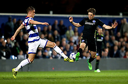 Dale Stephens of Brighton & Hove Albion is tackled by Matt Smith of Queens Park Rangers - Mandatory by-line: Robbie Stephenson/JMP - 07/04/2017 - FOOTBALL - Loftus Road - Queens Park Rangers, England - Queens Park Rangers v Brighton and Hove Albion - Sky Bet Championship