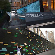 (TOP) At Lincoln Center in New York City, IBM's interactive THINK exhibit, open now through October 23, 2011, explores how science and information technology can make the world work better. Built to commemorate IBM's centennial, the free exhibit boasts a massive, 123-foot display that streams live data feeds captured from nearby sensors, such the flow of traffic (bottom) and air pollution levels. Helping cities analyze this data can lead to improvements such as easing traffic congestion and improving air quality. (BOTTOM) Nayan Shankaran, 5 (left) and his sister Riya, 3, Philadelphia, PA, explore the exhibit. (Feature Photo Service)
