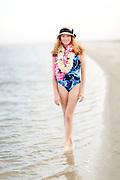 Beautiful strawberry blond woman at the beach on Sullivan's Island, South Carolina.