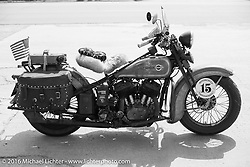 American Iron Magazine publisher Buzz Kanter's 1936 Harley-Davidson VLH during Stage 8 of the Motorcycle Cannonball Cross-Country Endurance Run, which on this day ran from Junction City, KS to Burlington, CO., USA. Saturday, September 13, 2014.  Photography ©2014 Michael Lichter.